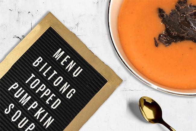 Biltong pumpkin soup